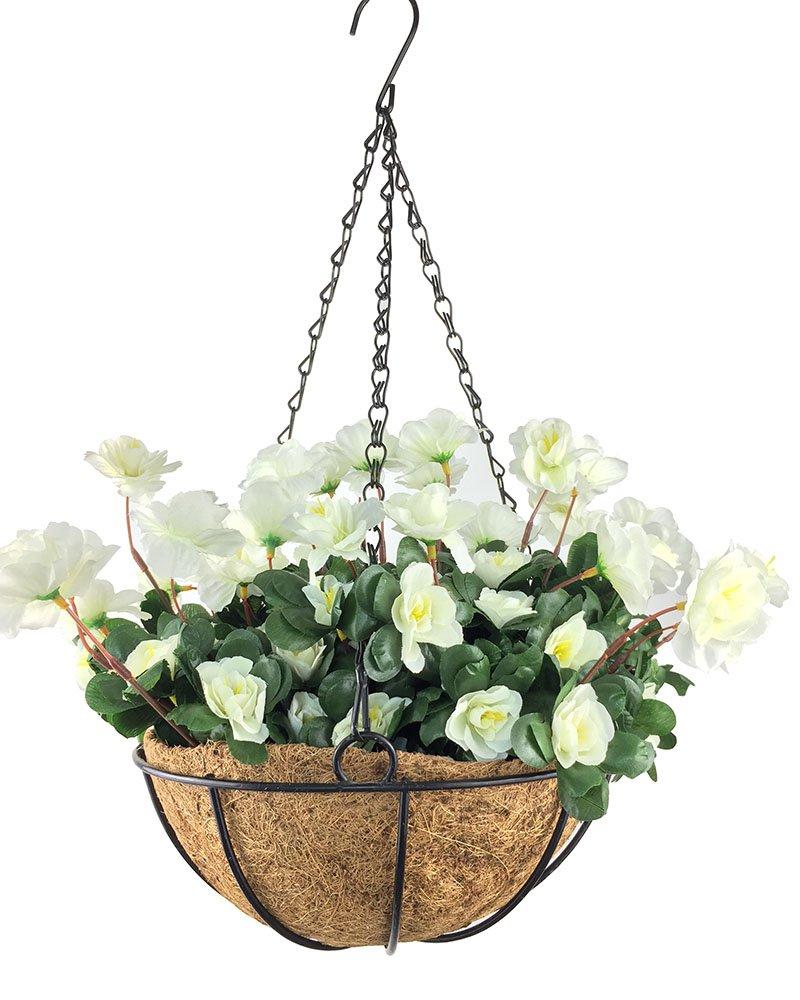 silk flower arrangements lopkey outdoor artificial red azalea bush flower patio lawn garden hanging basket with chain flowerpot,white