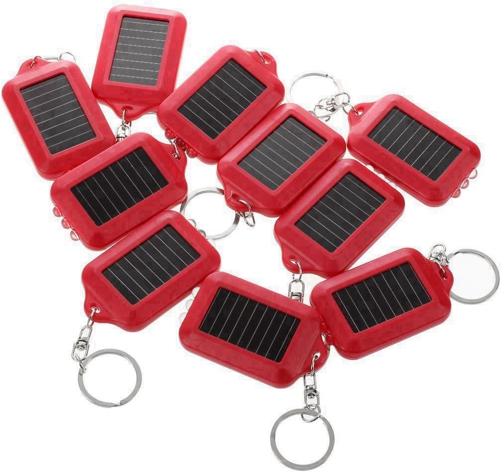 Andifany 10X energia Solar Recargable 3LED Llavero Linterna antorcha Anillo Nuevo Rojo