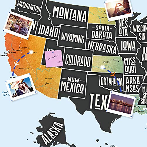 """Scratch Off Map of The United States, Merssyria Scratch USA Travel Map Wall Poster with Scratching Tools, Flag Pins, Stickers, Deluxe Gift for Traveler 24"""" x 17"""" by Merssyria (Image #4)"""