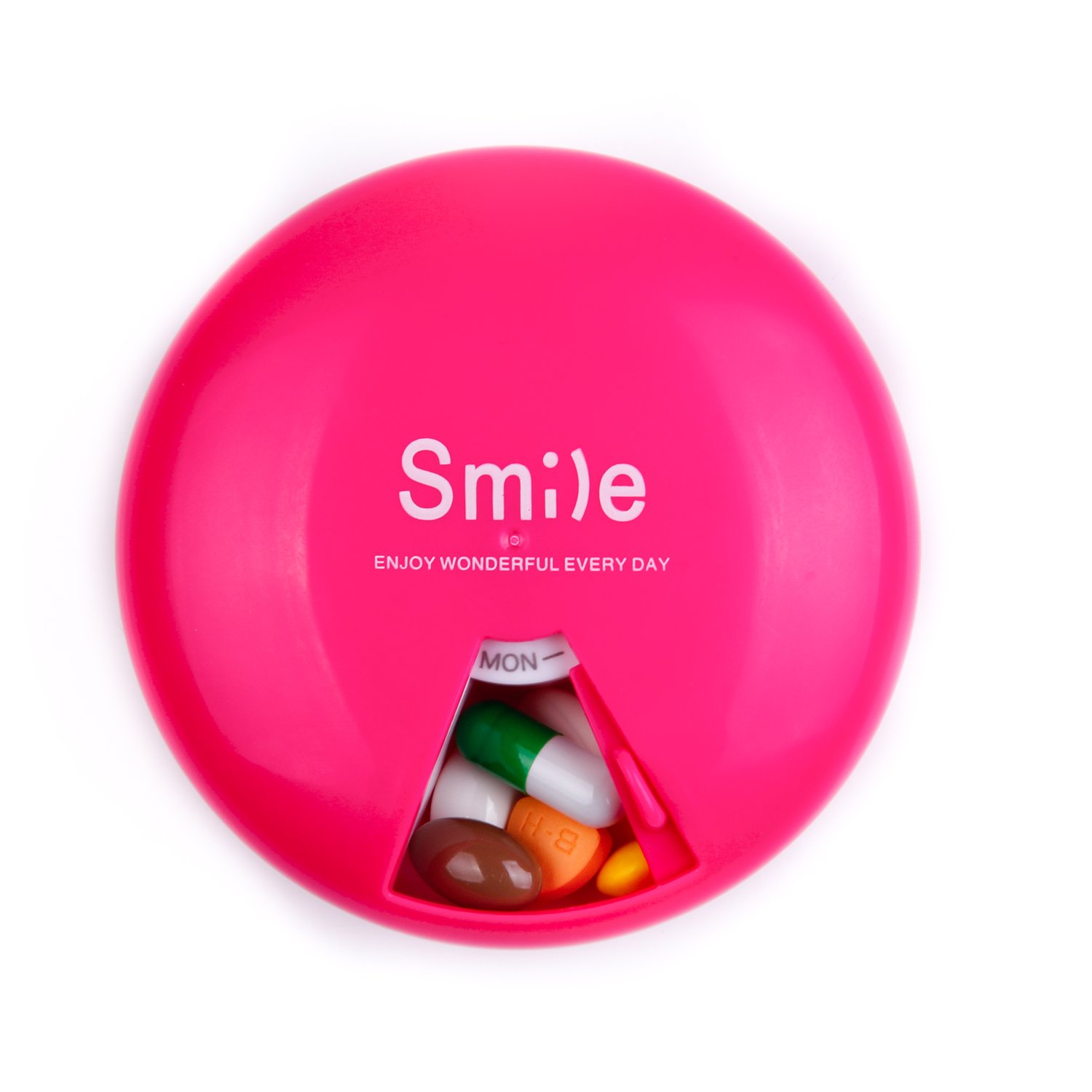 IYAYOO Pill Case Portable BPA Free Pill Organizer with 360 Degree Rotation 7 Compartments Week Marks Pill Container Red