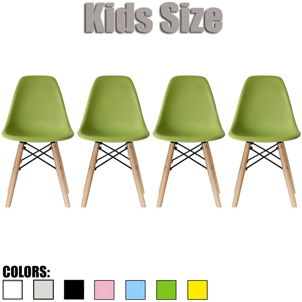 2xhome - Set of Four (4) - Green - Kids Size Eames Side Chairs Eames Chairs Green Seat Natural Wood Wooden Legs Eiffel Childrens Room Chairs No Arm Arms Armless Molded Plastic Seat Dowel Leg…