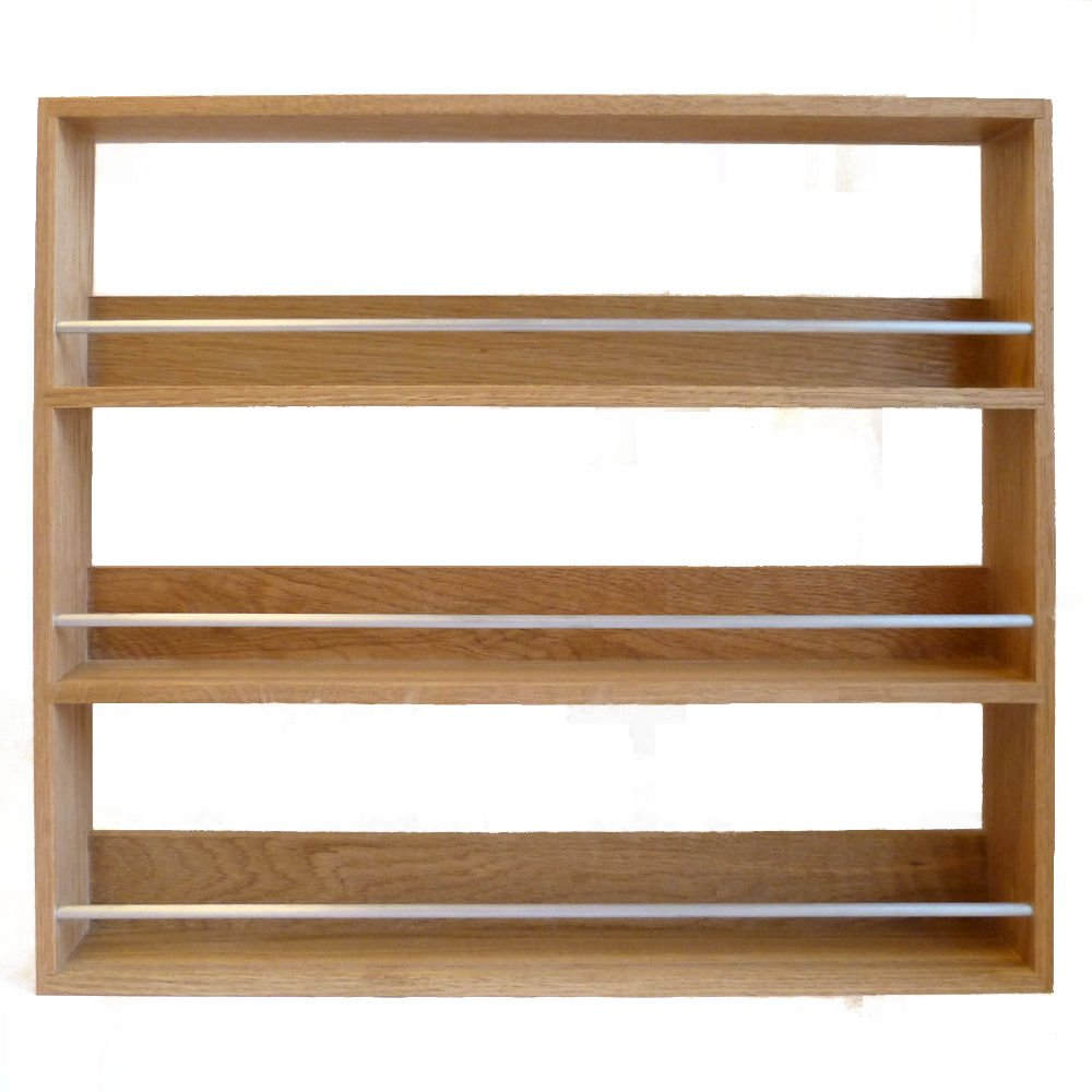 Solid Oak Spice Rack Three Tier Up To 27 Jar Capacity SilverAppleWood OAK27ALU