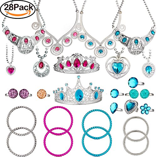 BeYumi 28 Pcs Princess Jewelry Dress-Up Accessories Toy Set With Princess Tiara, Necklace, Rings, Bracelets, Pretend Play Jewelry Gift Set for Girls Birthday Party Favor (Girls Party Gifts)