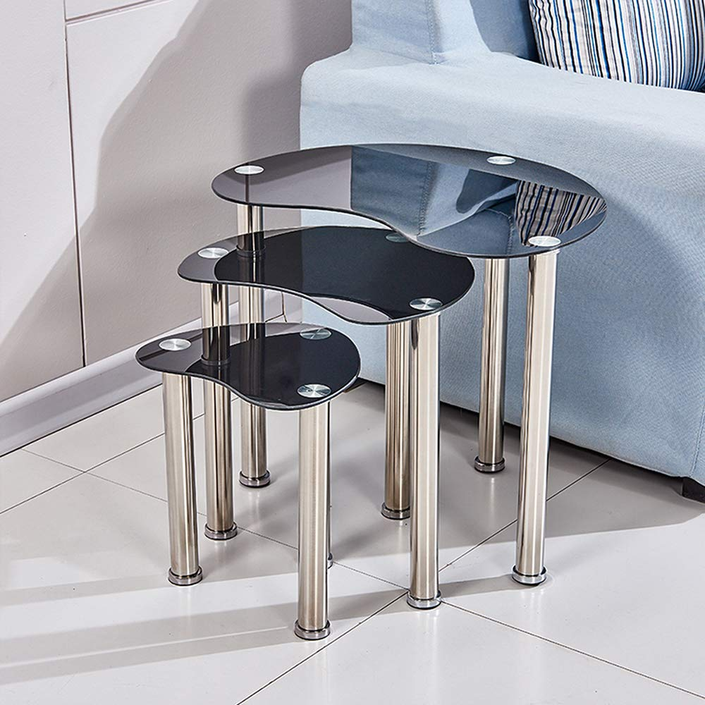 QIHANG-UK Nesting Table Nest of Tables Coffee Table Side Table End Table for Living Room Bedroom Reception Room Set of 3 Glass Tabletop Oval(Black)