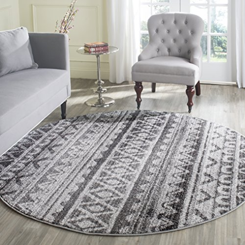 Safavieh Adirondack Collection ADR119N Ivory and Charcoal Modern Bohemian Area Rug (4' in Diameter)