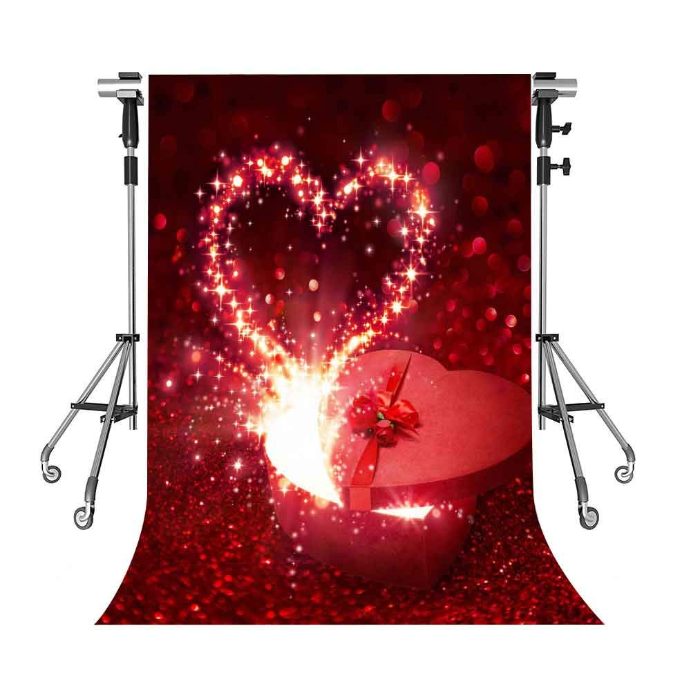 XCMT346 ロマンチックな背景幕 レッドハート 写真背景 MEETSIOY 5x7フィート テーマパーティー 写真ブース YouTubeバックドロップ   B07G7NSP8P