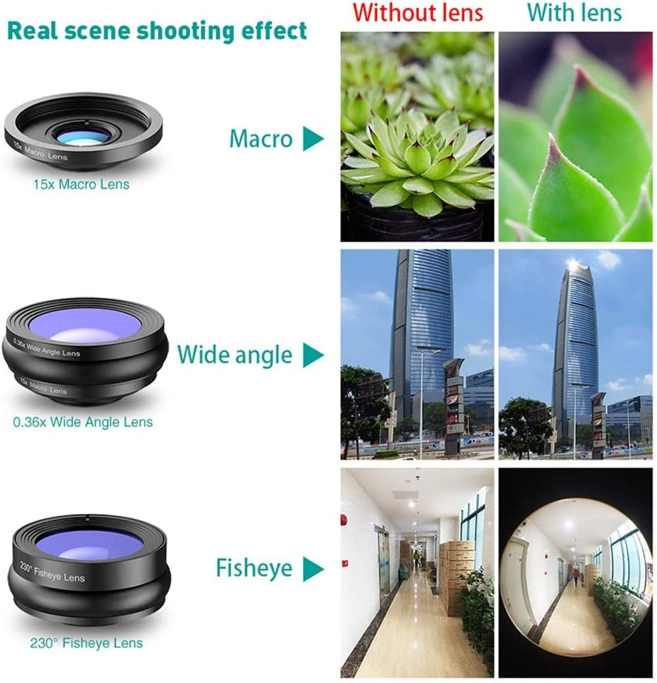 AUSWIEI 3in1 Cell Phone Camera Lens Kit Wide Angle/&Macro Lens 230/° Eyefish Lens for Most Smartphones and Tablets Color : Black