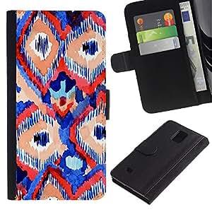 EuroTech - Samsung Galaxy Note 4 SM-N910 - Abstract Red Blue Lines Art Watercolor - Cuero PU Delgado caso Billetera cubierta Shell Armor Funda Case Cover Wallet Credit Card
