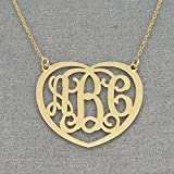1 inch 10k Gold Personalized 3 Initials Heart Monogram Pendant Necklace Jewelry