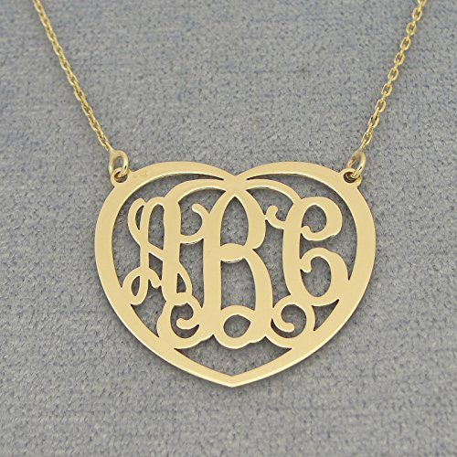 1 inch 10k Gold Personalized 3 Initials Heart Monogram Pendant Necklace Jewelry by Soul Jewelry Inc