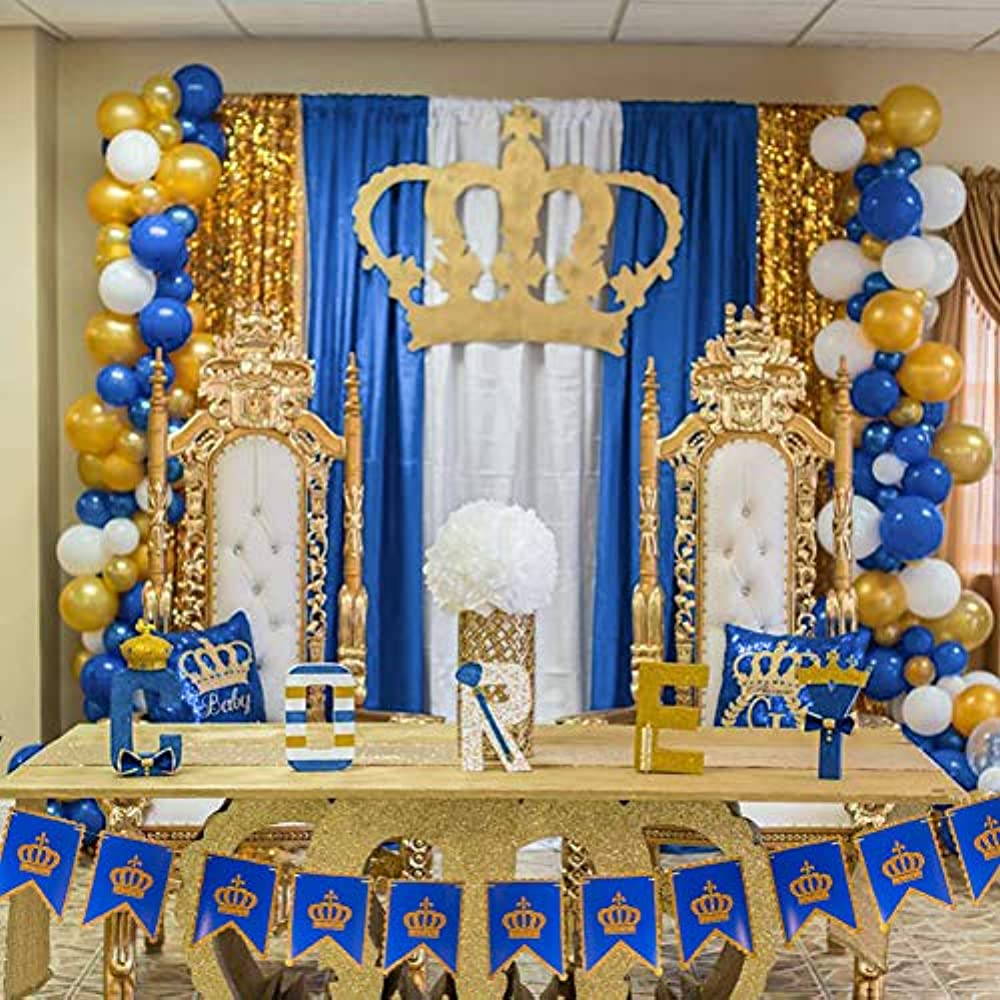 Blue Gold White Balloons 37 Pcs 12'' Navy For Wedding ...