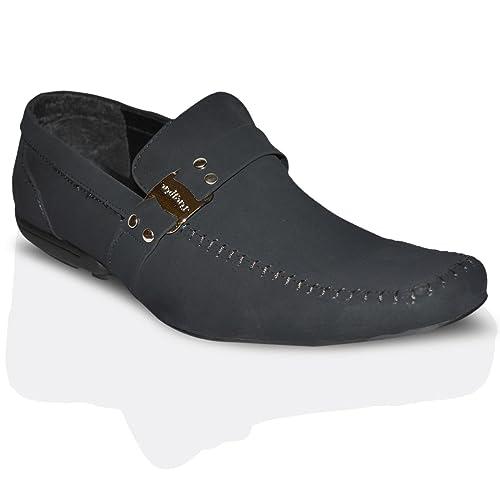 Mocasines para hombres informales de vestir planos - Sintético, 43, Negro ante: Amazon.es: Zapatos y complementos