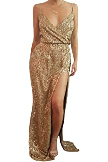 Dora Bridal Women Sexy Sequins Lace Evening Dress V-Neck Formal Gowns with High Split