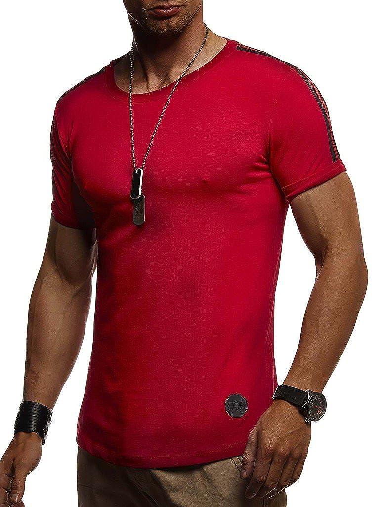 LEIF NELSON Herren Sommer T-Shirt Rundhals-Ausschnitt Slim Fit Baumwolle-Anteil | Moderner Männer T-Shirt Crew Neck Hoodie-Sweatshirt Kurzarm lang | LN1385