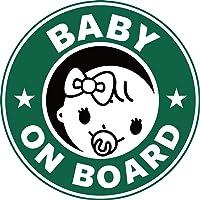 Exproud製 BABY ON BOARD 赤ちゃんが乗っています マグネット ステッカー 直径15cm 女の子用 あおり運転対策