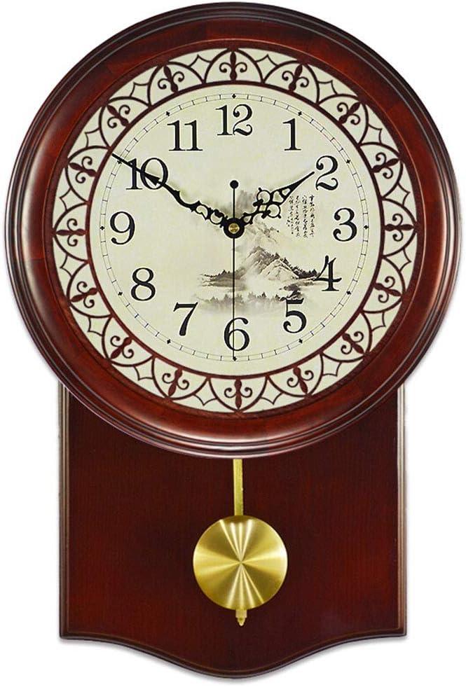 壁掛け時計 壁掛け時計ヴィンテージバッテリーは非カチカチ振り子中国のレトロなアートの装飾ベッドルームリビングルームウッドサイレントクォーツ時計を運営しました