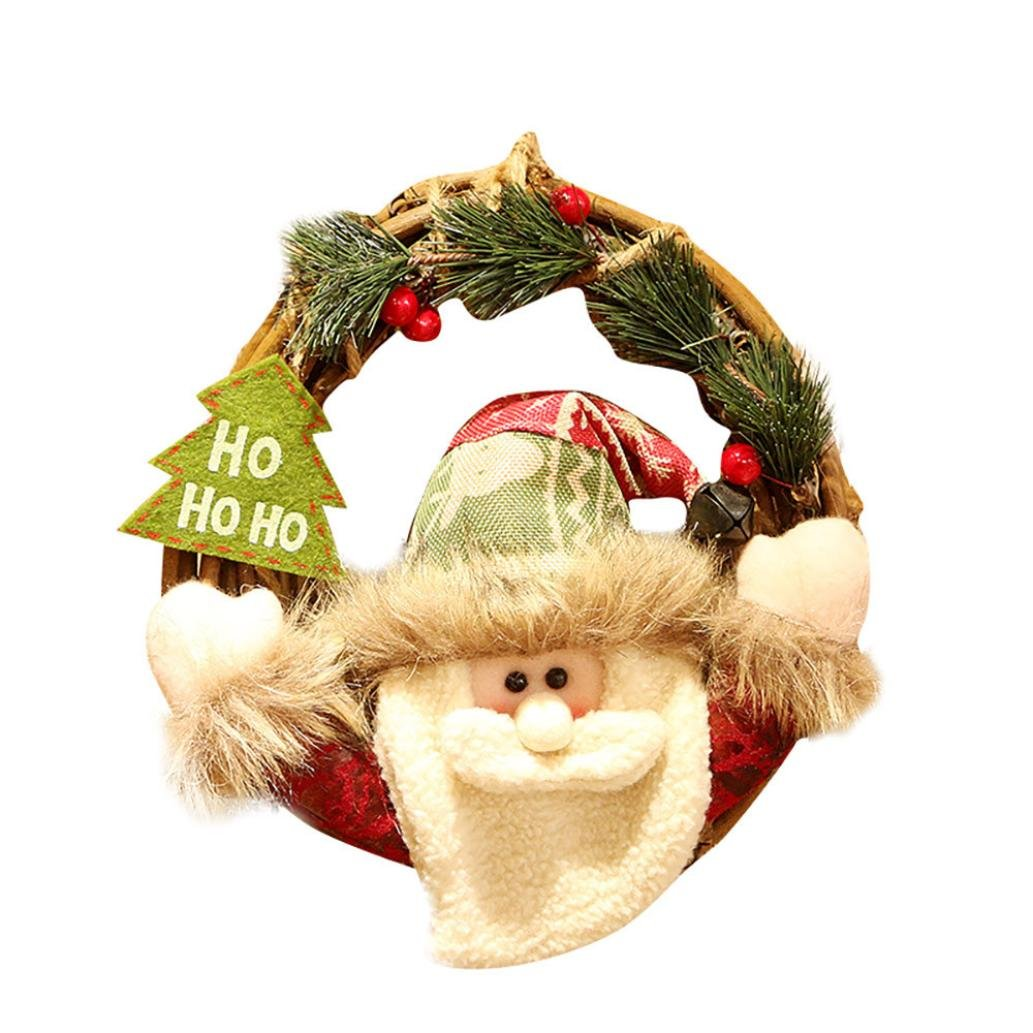 Hot Sale!!Woaills Merry Christmas Party Poinsettia Pine Door Wall Garland Decoration Wreath (A)