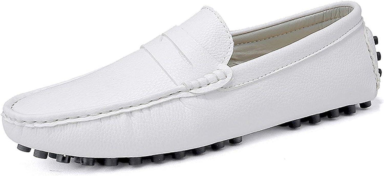 DEKABR Size 49 Men Casual Shoes Fashion Men Shoes Genuine Leather Men Loafers Moccasins Slip On Mens Flats Male Driving Shoes,03 White,10