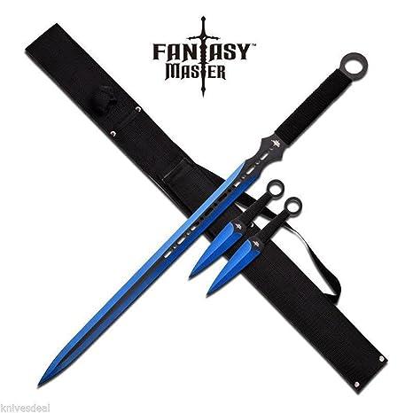Amazon.com : Blue Ninja Sword With Set Of 2 Kunai Throwing ...