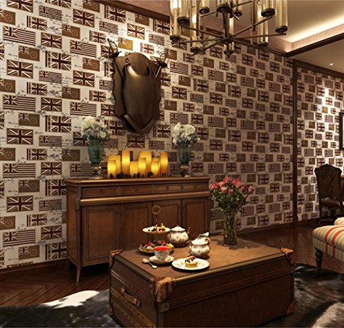 XIAOLI& British Style Fashion Retro Flag Wallpaper Pure Paper Wallpaper Bedroom Living Room Tv Wallpaper Wall Protection Wallpaper, Yellow British Isle Bedroom