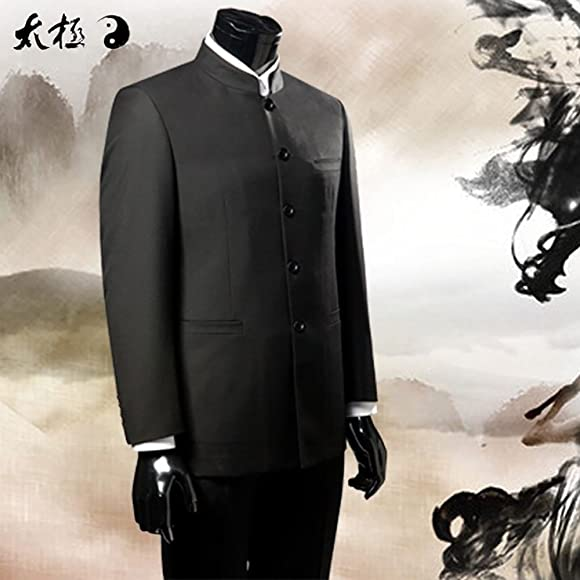 643aa2009 YOUMU Men's Chinese Traditional Uniform Chinese Tunic Suit Two Piece Black.  Back. Double-tap to zoom
