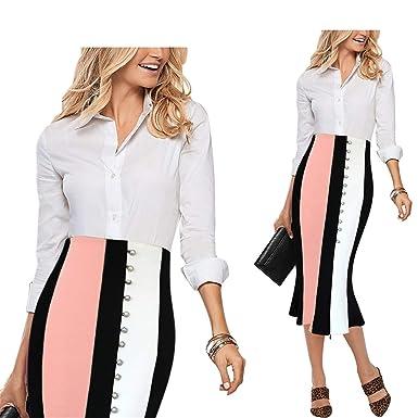 Availcx-Sexy Long Skirt Mujeres Contraste Elegante Cintura Alta ...