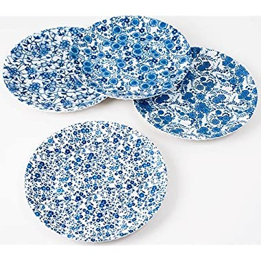 Blue & White Floral Pattern Picnic / Dinner Plate, 9 Inch Melamine, Set of 4