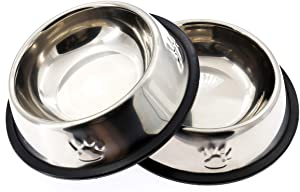 AYECEHI Stainless Steel Dog Cat Bowls Cat Food Bowls with Rubber Base for Small Dogs, Cat Dish Bowl Dog Food Bowls No Spill(Set of 2)