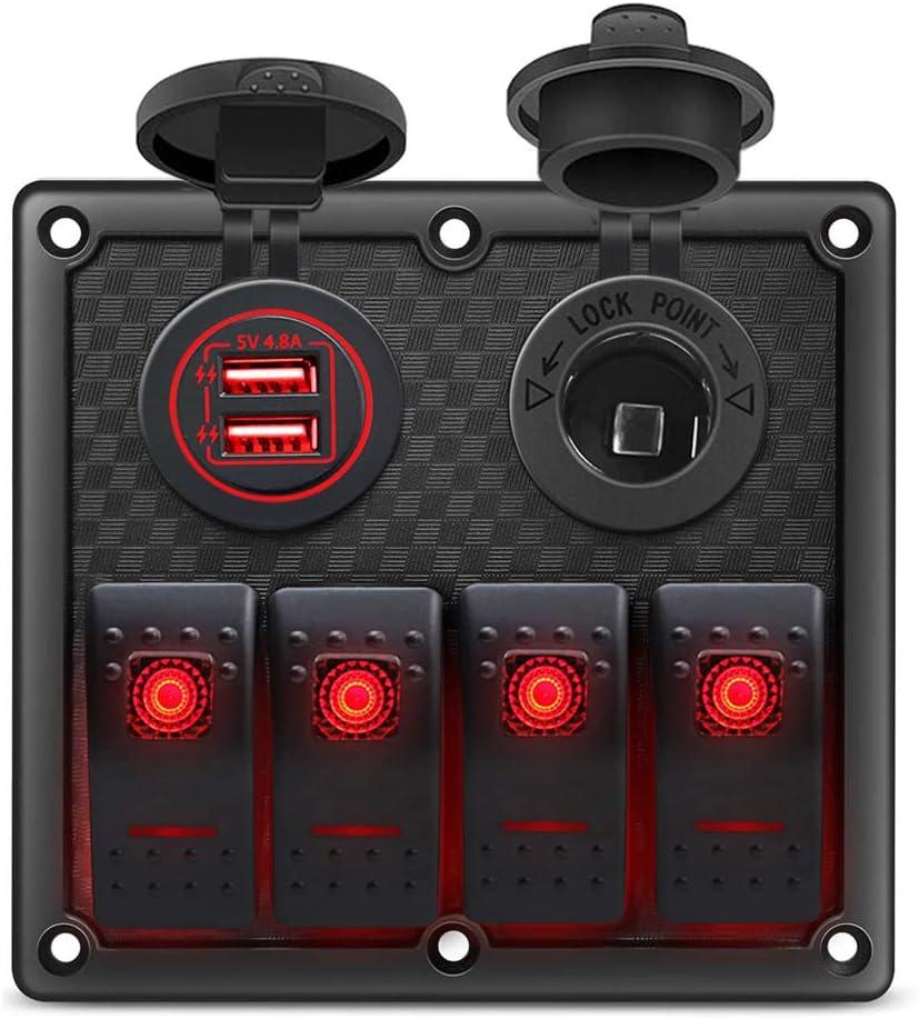 Gerguirry 4 Gang Waterproof Marine Boat Rocker Switch Panel with 12V//24V Dual USB Slot Socket Power Socket Red LED Backlight for Car SUV Marine RV Truck Camper Boat
