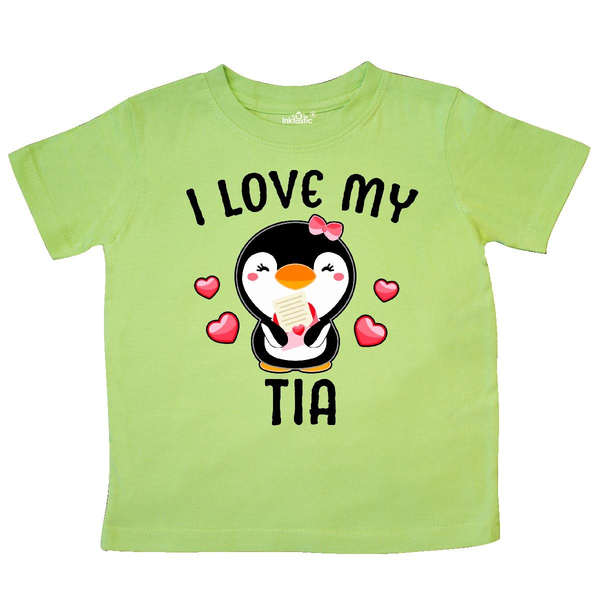 inktastic I Love My Tia with Cute Penguin and Hearts Toddler T-Shirt