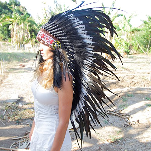 All White Indian Costume (Novum Crafts Feather Headdress | Native American Indian Inspired | Black/white)