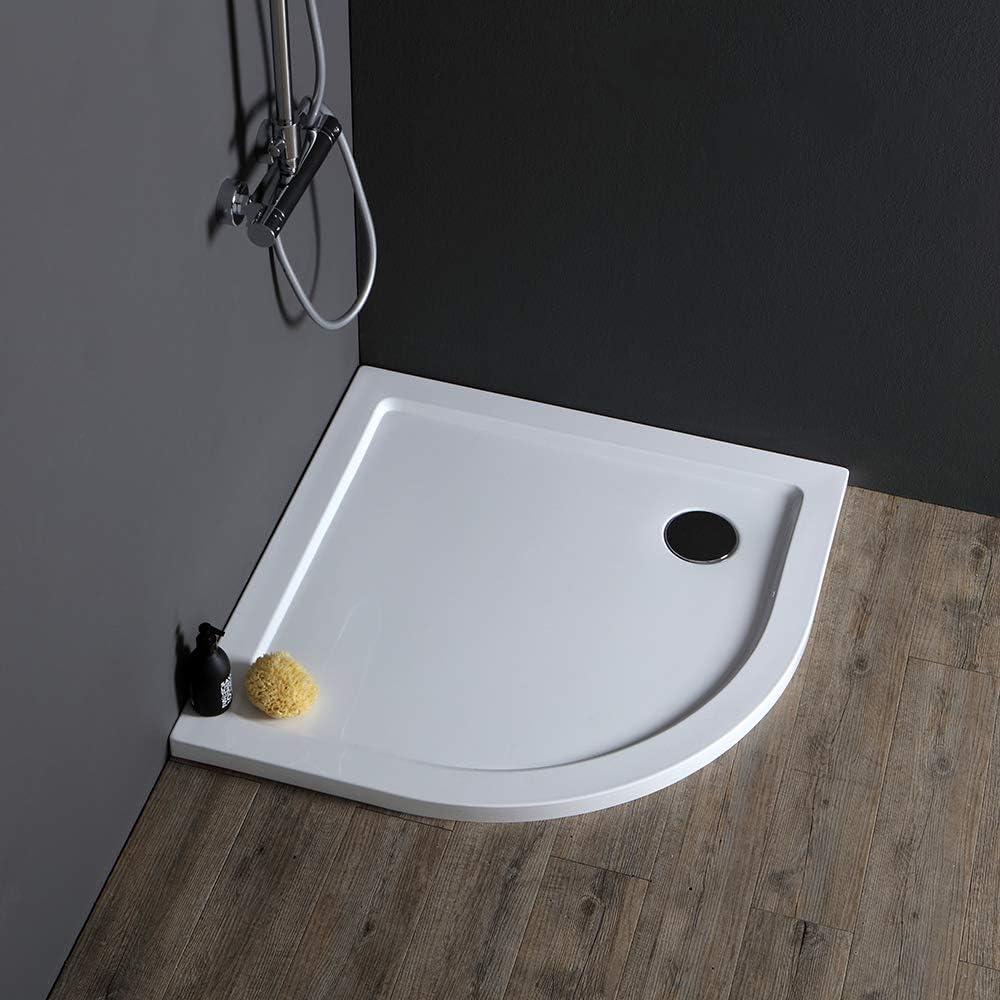 Plato de ducha fino semicircular 90 x 90 cm acrílico: Amazon.es: Bricolaje y herramientas