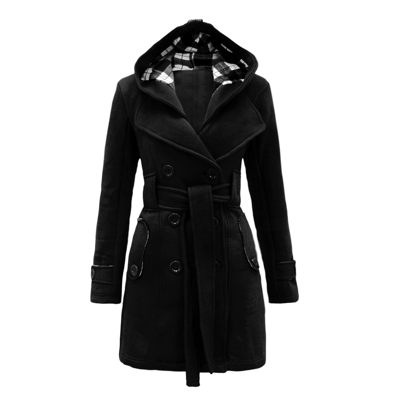 Envy Boutique Women's Belted Button Coat Hood Jacket Top Black 8