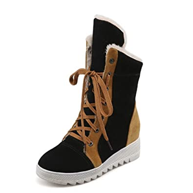Women's Imitated Suede Low-Top Assorted Color Lace-Up Low-Heels Boots