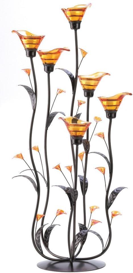 CANDLE HOLDER Amber Lillies Tealight Candleholder NEW
