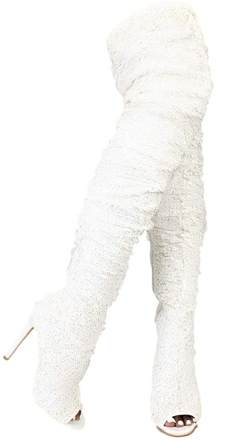 5a6887be5ba Weboo Dazzle Women Thigh High Over Knee Sequin Sparkle High Heel Open Toe  Boots