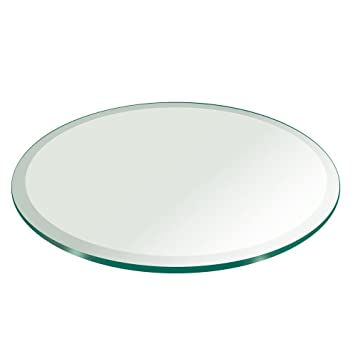 Amazon.com: Mesa de cristal superior redonda de 1/4 pulgadas ...