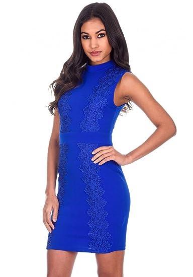 318674a7d4e2 AX Paris Women's Sleevless High Neck Crochet Detail Dress(Blue, ...