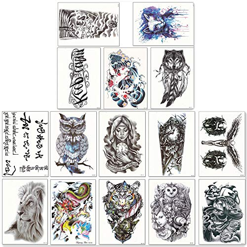 DaLin Large Temporary Tattoos Half Arm Tattoo Sleeves 15 Sheets, Robot Arm, Dead Skull, Koi Fish, Lion, Owl, Dragon, Tiger and more (Half Sleeve Tattoos For Men Black And White)