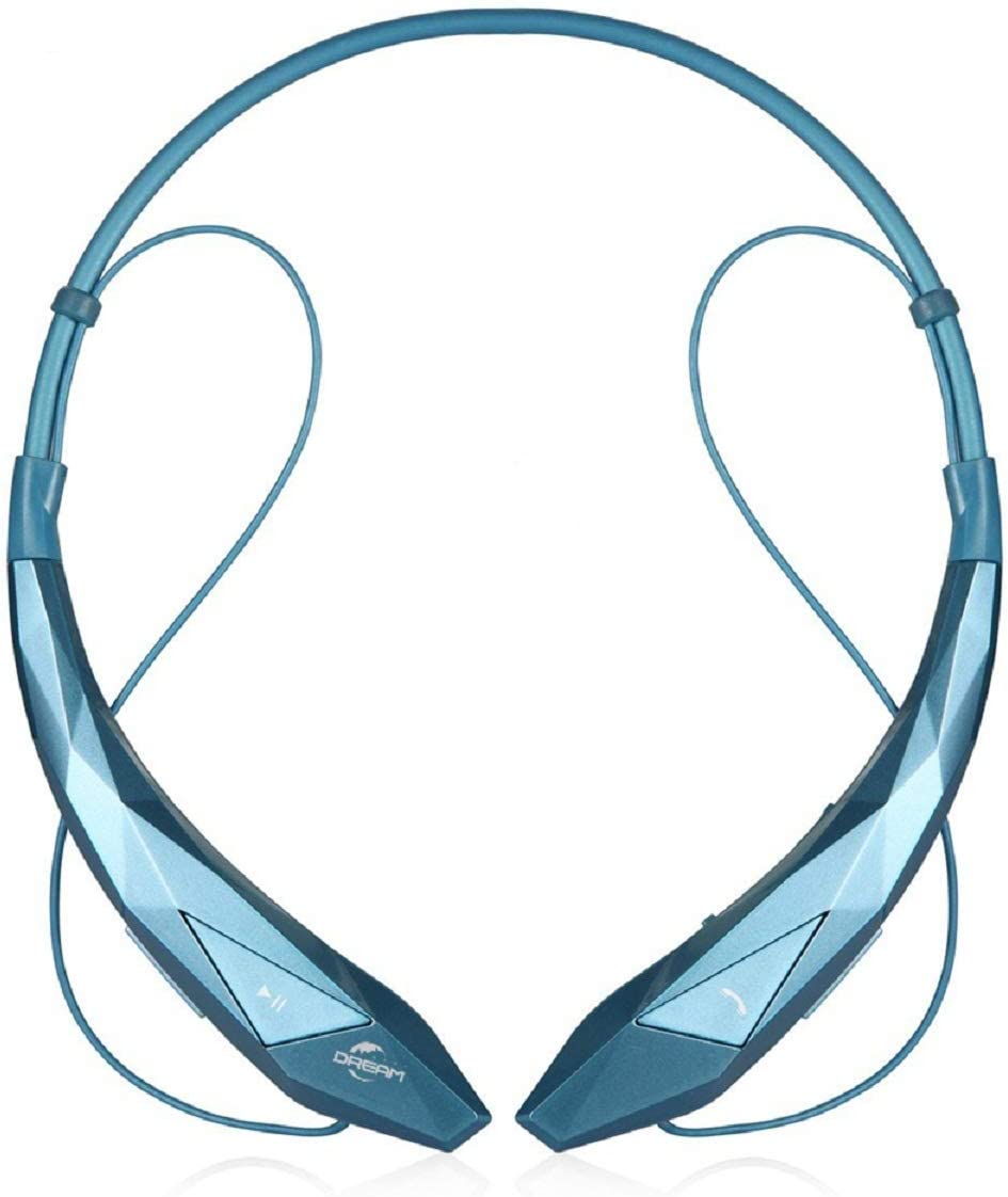 Wireless Headphones, Megadream Wireless Stereo Sport BT Headset Neckband Retractable Earbuds w/Mic for Running Gym Yoga Exercise iPhone Samsung (Blue)