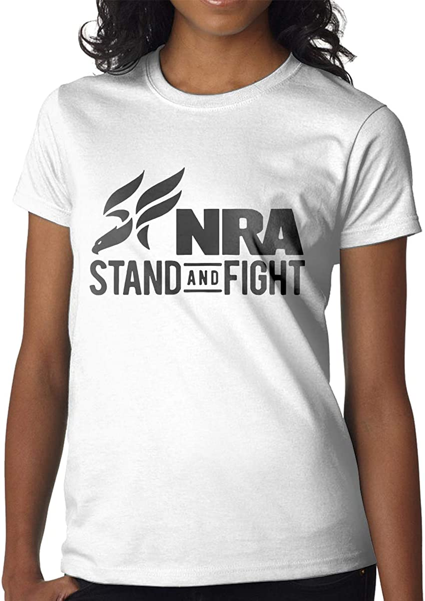 Printed NRA Stand and Fight Womens Fashion Shot Sleeves T Shirt