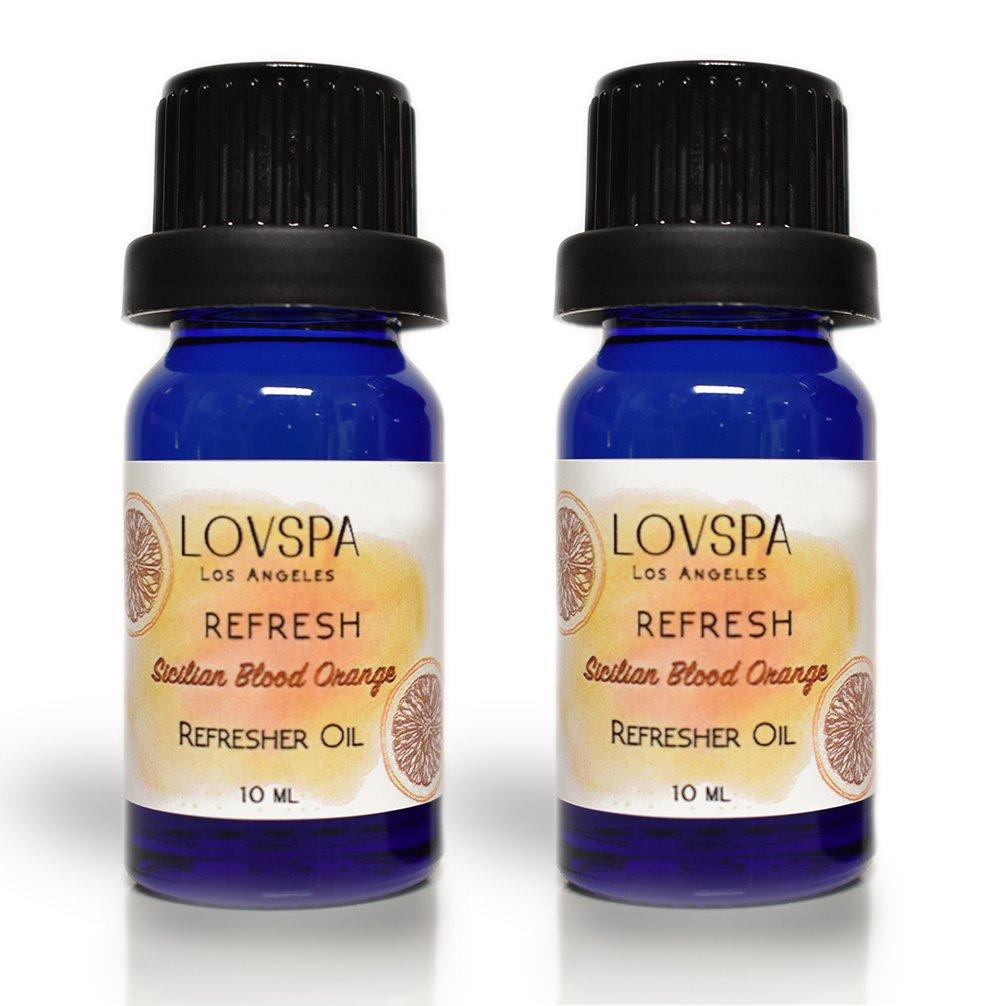 LOVSPA Refresh Sicilian Blood Orange Potpourri Refresher Oil | Energizing Grapefruit & Bergamot | Creates a Cheerful Atmosphere | Pack of 2 x 10ml Dropper Bottles