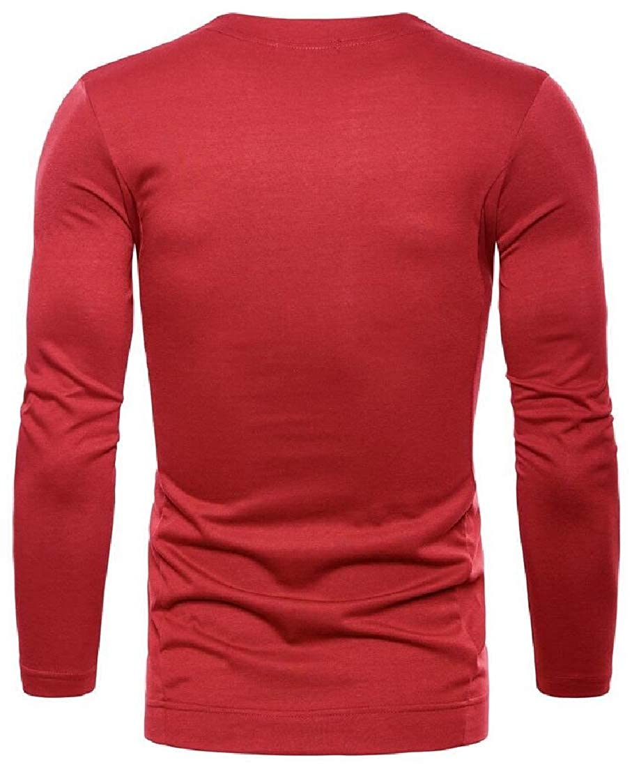 ZXFHZS Men Solid Colored O-Neck Pullover Stylish Tee Shirt
