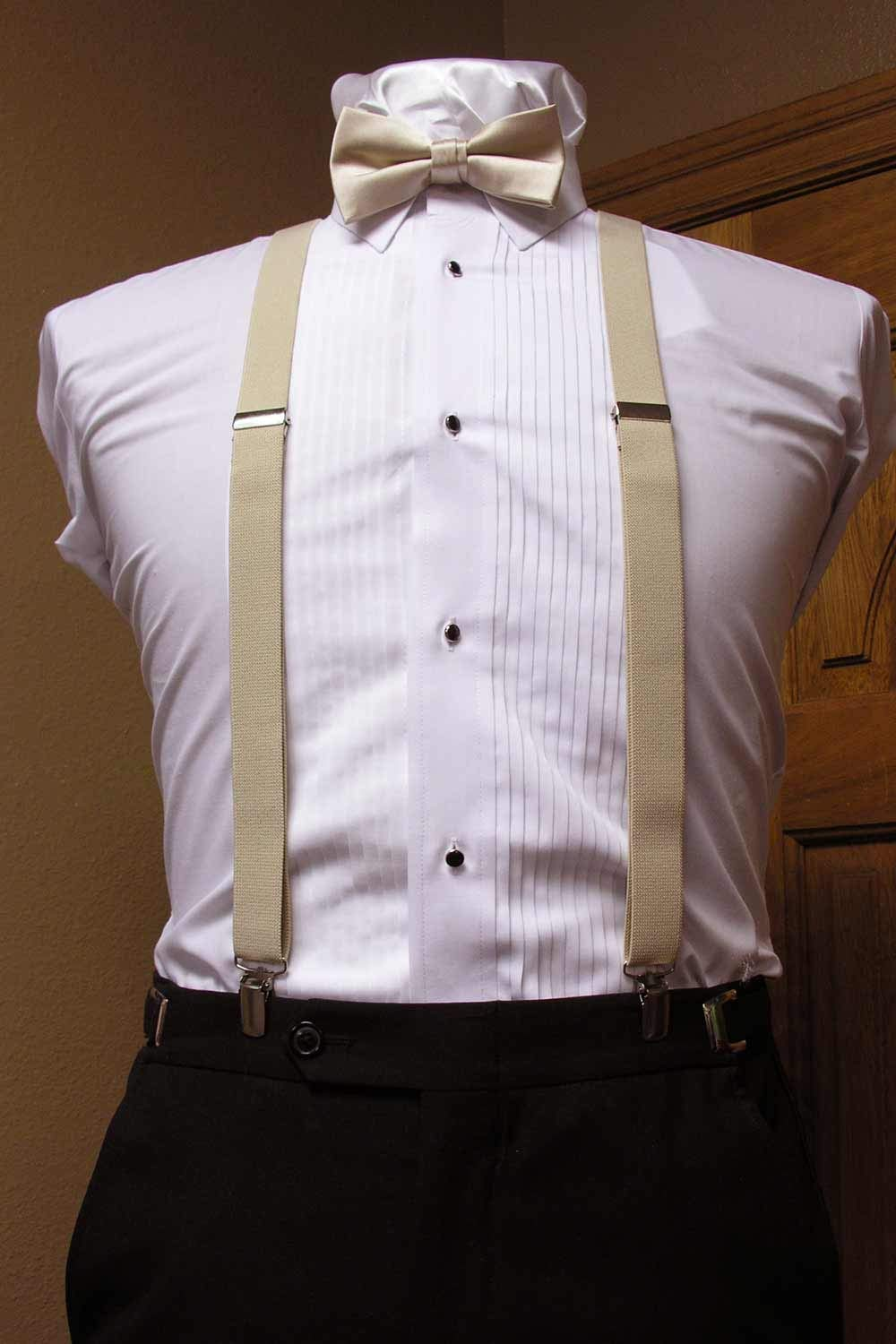 TraderPlus Men Elastic Suspenders and Bow Ties Set for Wedding Champagne Formal Events
