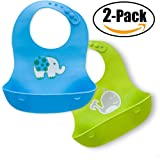 Waterproof Soft Silicone Baby Bibs - Set of 2 Easy Clean Bibs - Roll up Feeding Bibs with Crumb Catcher (Blue and Green)