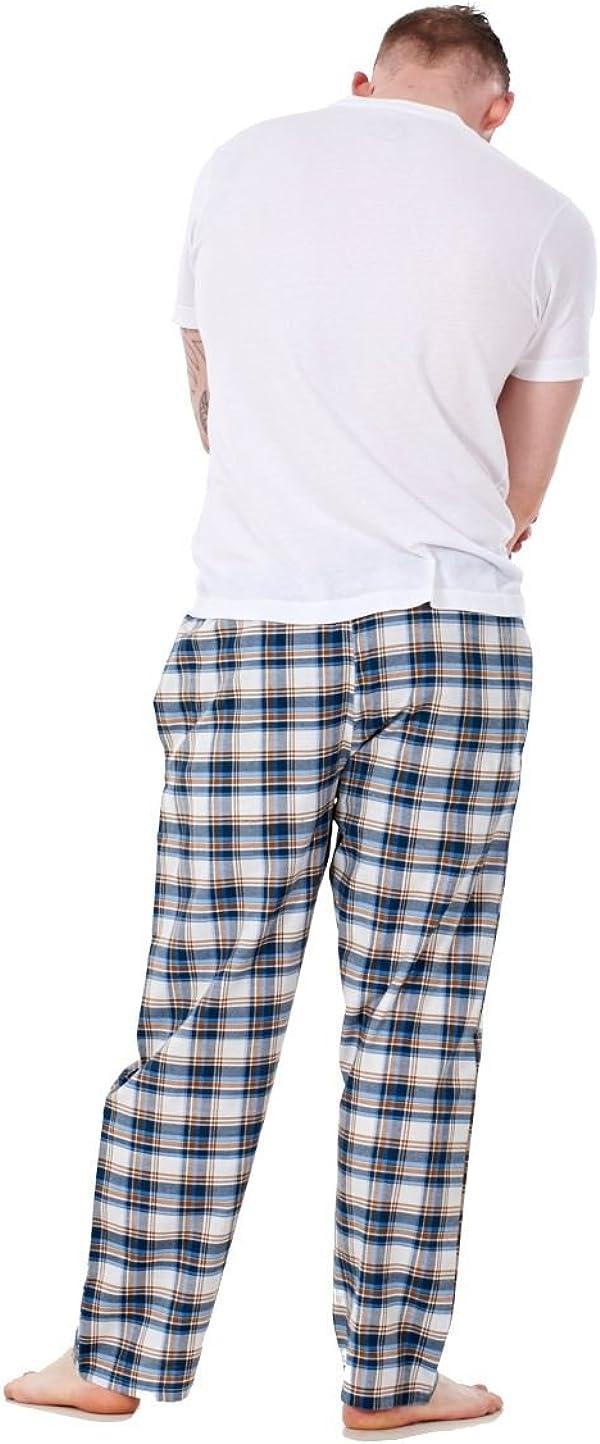 Bay eCom UK Mens Pyjama Bottoms Rich Cotton Woven Check Lounge Pant Nightwear Big 3XL to 5XL