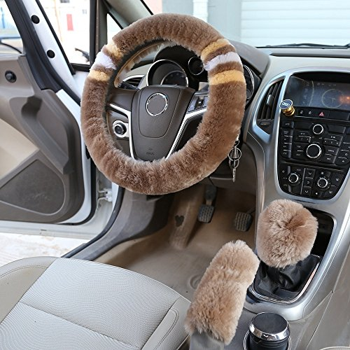 Knob Cover Set - Dotesy 3 Pcs Plush Car Steering Wheel Cover Set with Gear Shift Knob Cover Handbrake Cover in Soft Australia Sheepskin Pure Wool for 14.96 inch Car Steering Protector, Brown
