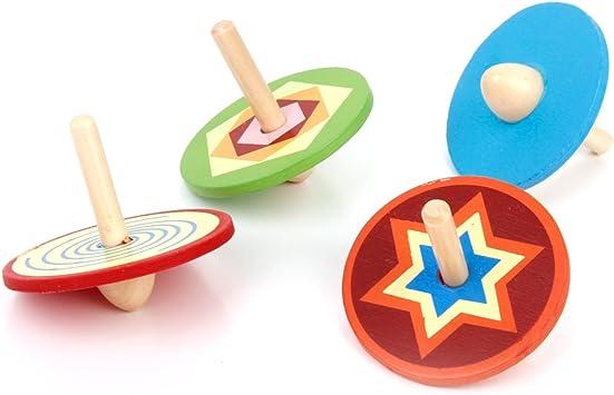 4 Piezas De Madera Clásico Pequeño Gyro Peg-Top Spinning Niños ...