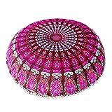 sunnymi Bohemian Cushion Cover, Large Mandala Floor Pillows Round Bohemian Meditation Cushion Cover Ottoman Pouf (D)