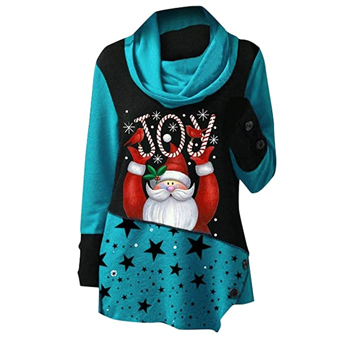 Christmas Tops Plus Size.Hntdg Plus Size Christmas Tops For Women Santa Claus Print